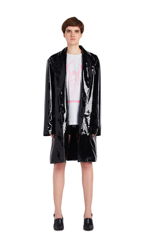 Patent leather raincoat